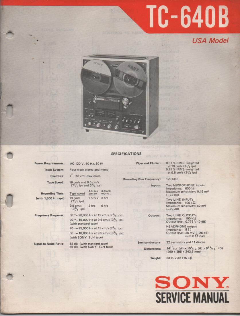 TC-640B Reel to Reel Service Manual 