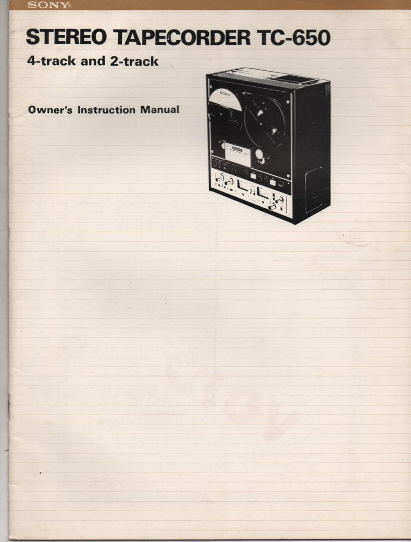 TC-650 Reel to Reel Operating Instruction Manual