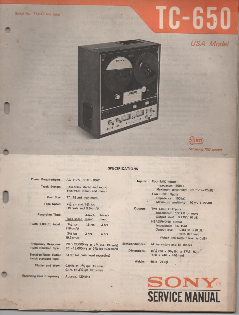 TC-650 Reel to Reel Service Manual  Sony