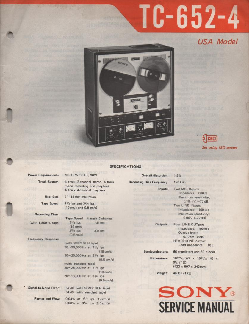 TC-652-4 Reel to Reel Service Manual