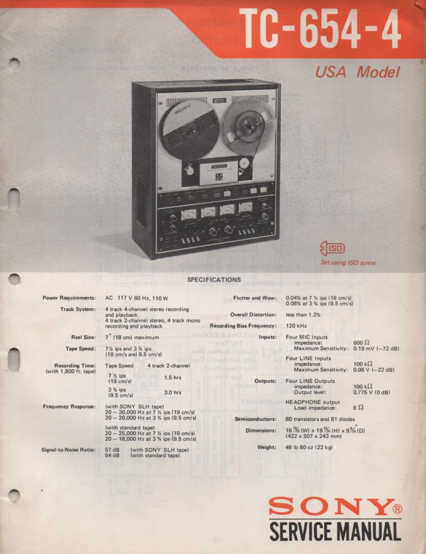 TC-654-4 Reel to Reel Service Manual  Sony