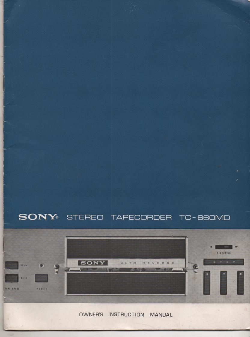 TC-660MD Reel to Reel Owners Manual  Sony