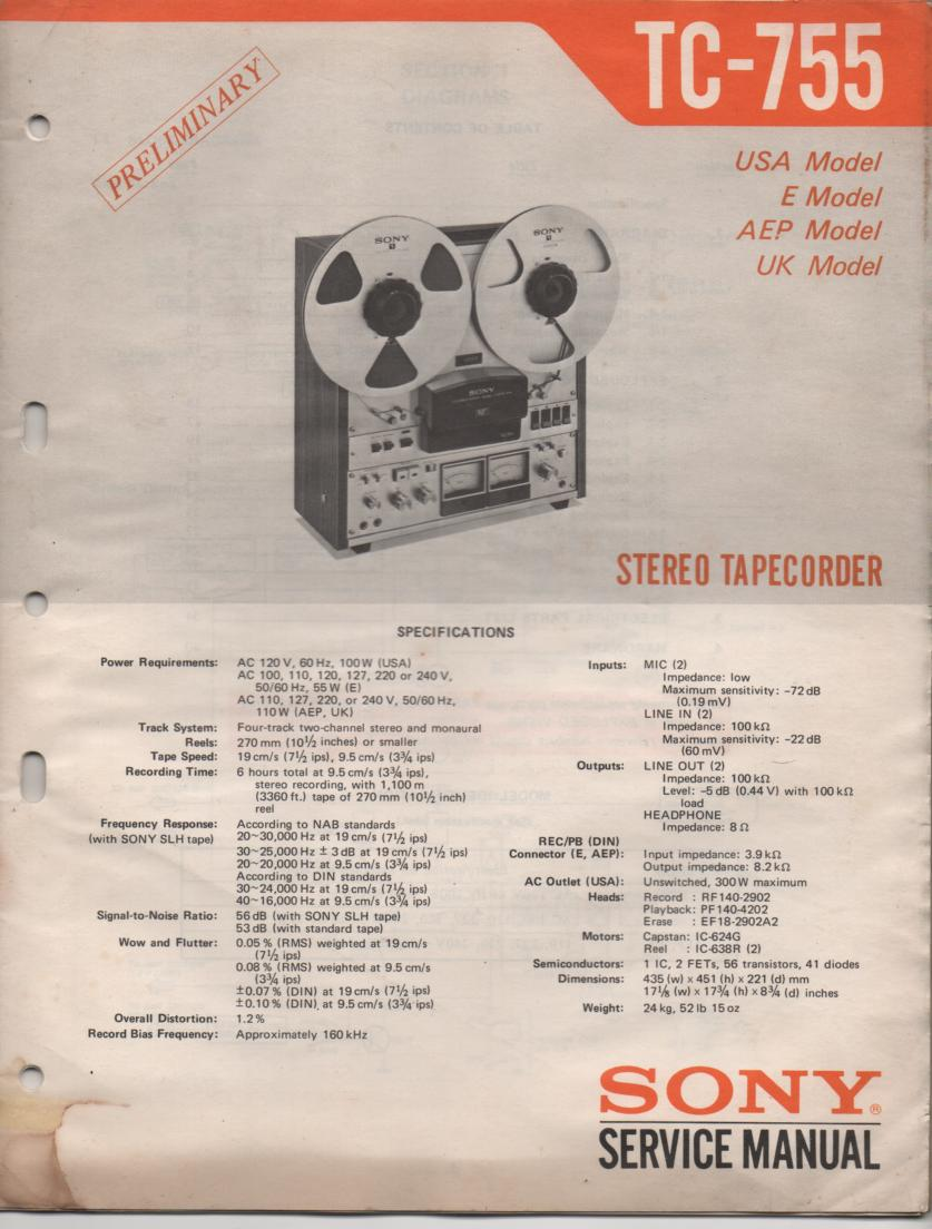 TC-755 Reel to Reel Service Manual  Sony