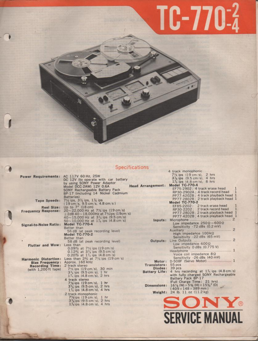TC-770-2 TC-770-4 Reel to Reel Service Manual  Sony