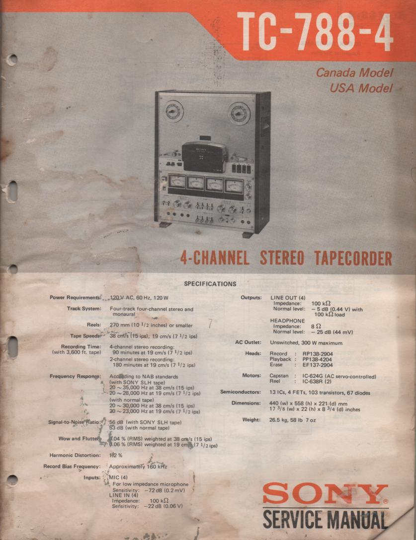 TC-788-4 Reel to Reel Service Manual  Sony