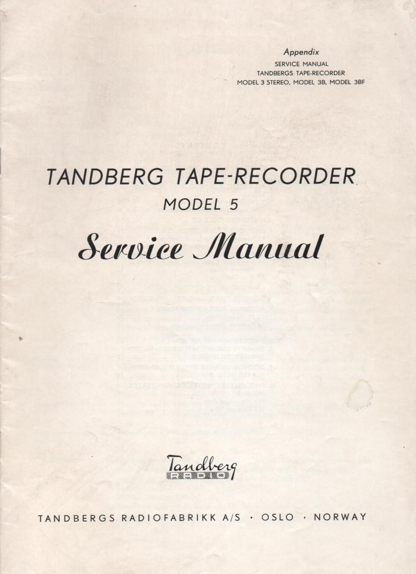 Model 5 Tape Recorder Service Manual 1  TANDBERG