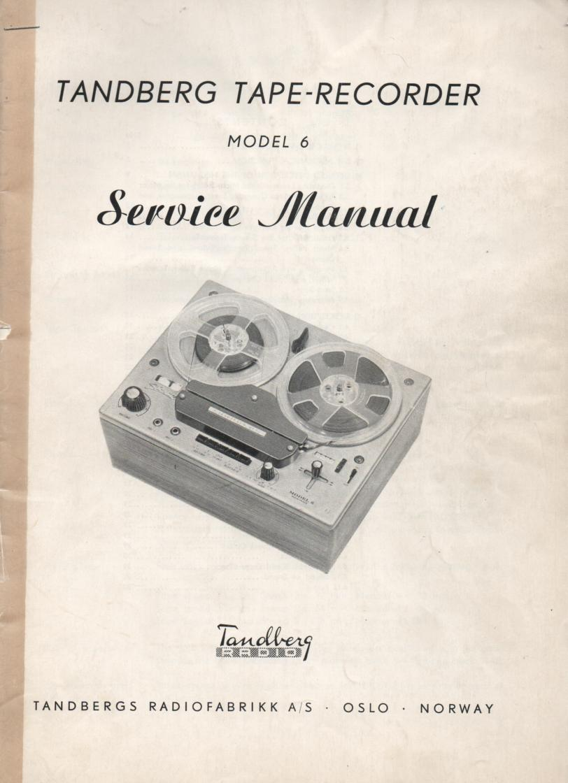 Model 6 Tape Recorder Service Manual 1. Covers Serial No. 602700 - 607500 Need separate Schematic for Serial No. 607501 and UP.