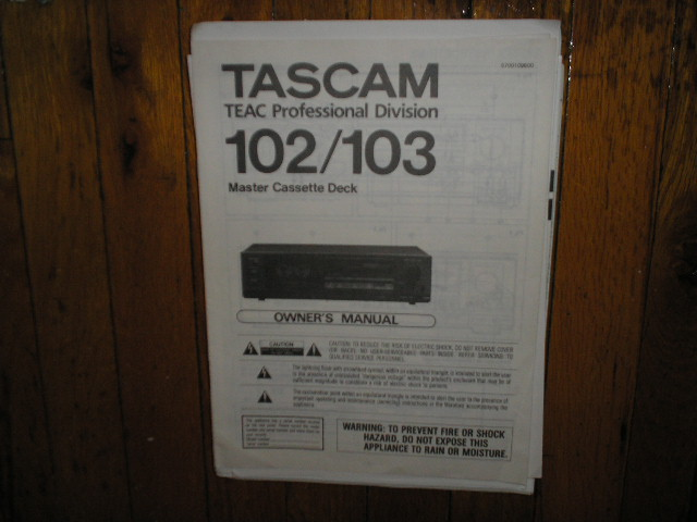 102 103 Master Cassette Deck Owners Manual