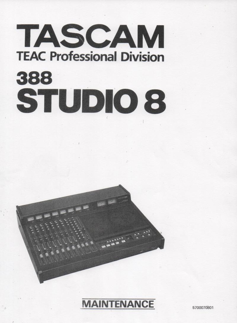 Studio 8 Mixer Recorder Service Manual