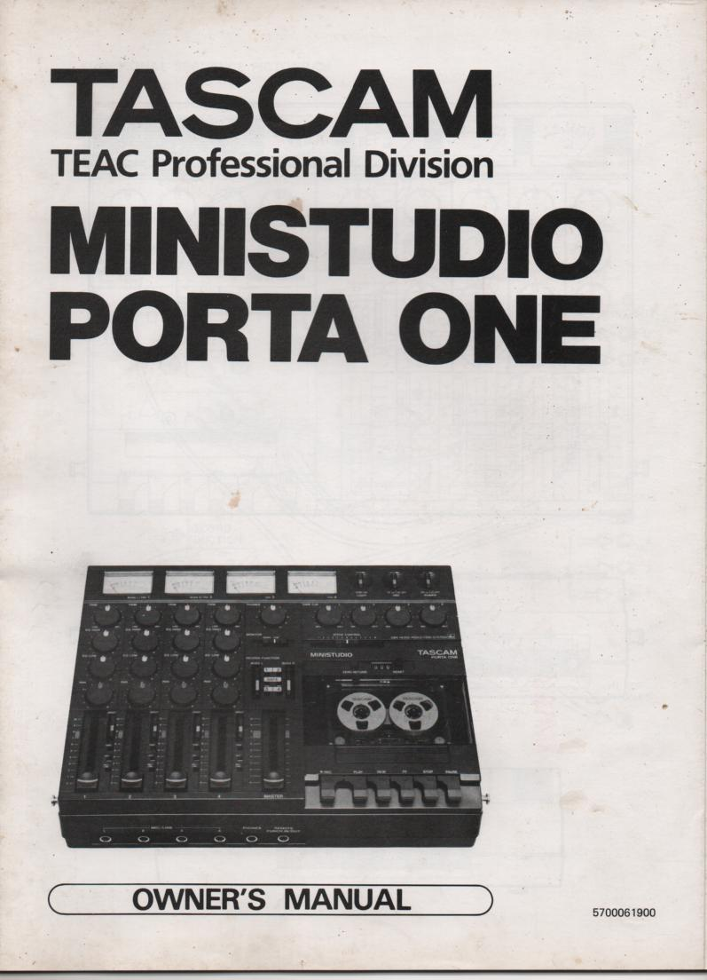 PORTA ONE Ministudio Owners Operating Instruction Manual