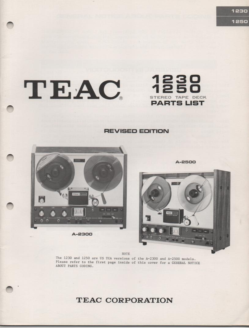 A1230 A-1250 A-2300 A-2500 Reel to Reel Service Parts Manual 2  TEAC