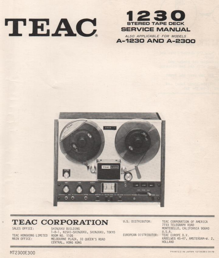 A-1230 A-1250 A-2300 A-2500 Reel to Reel Service Manual  TEAC