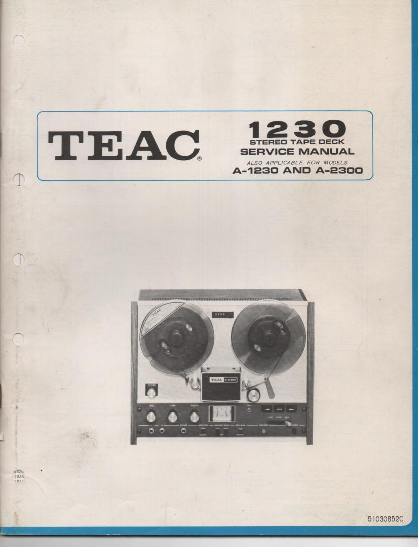 A-2500 A-1250 A-1230 Reel to Reel Service Manual  TEAC