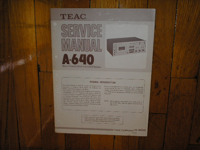 A-640 Cassette Deck Service Manual