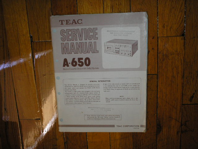 A-650 Cassette Deck Service Manual
