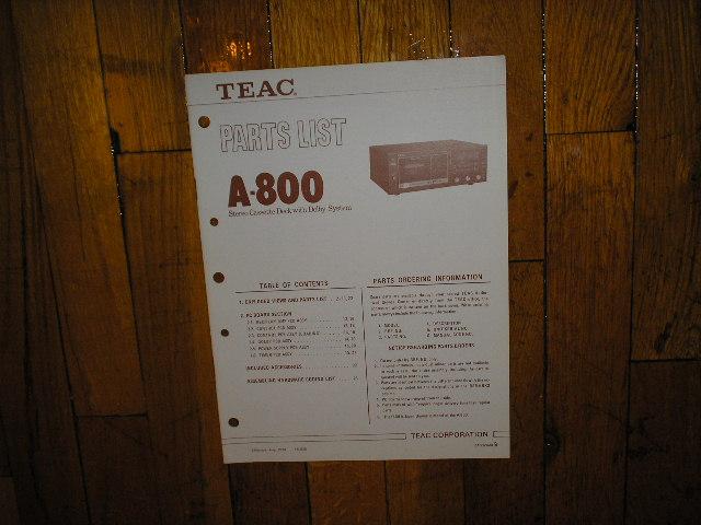 A-800 Cassette Deck Service Manual
