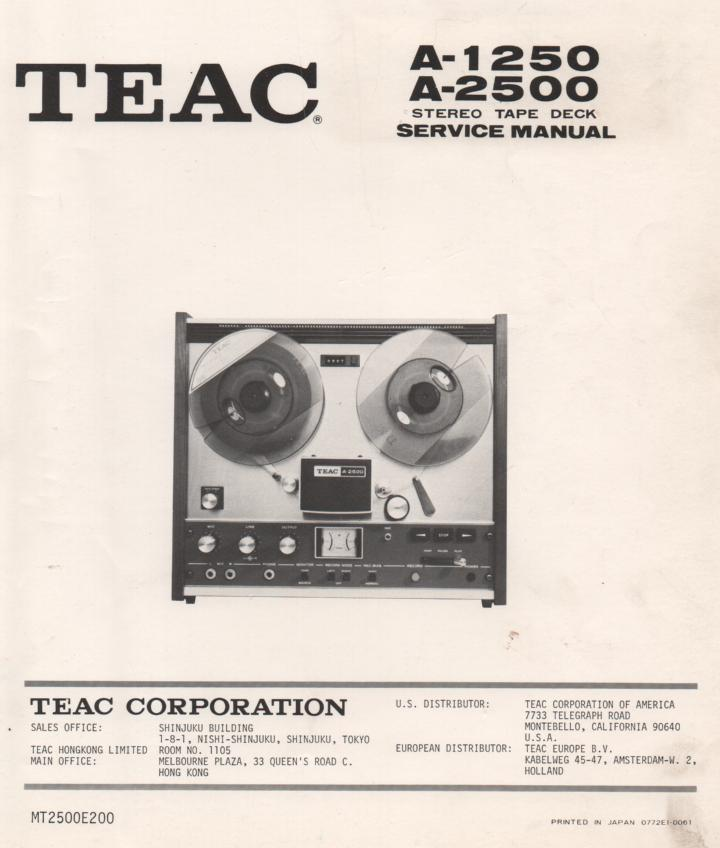 A-1250 A-2500 Reel to Reel Service Manual  TEAC