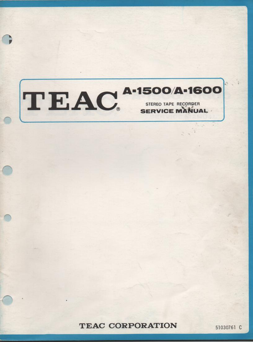 A-1600 Reel to Reel Service Manual  TEAC