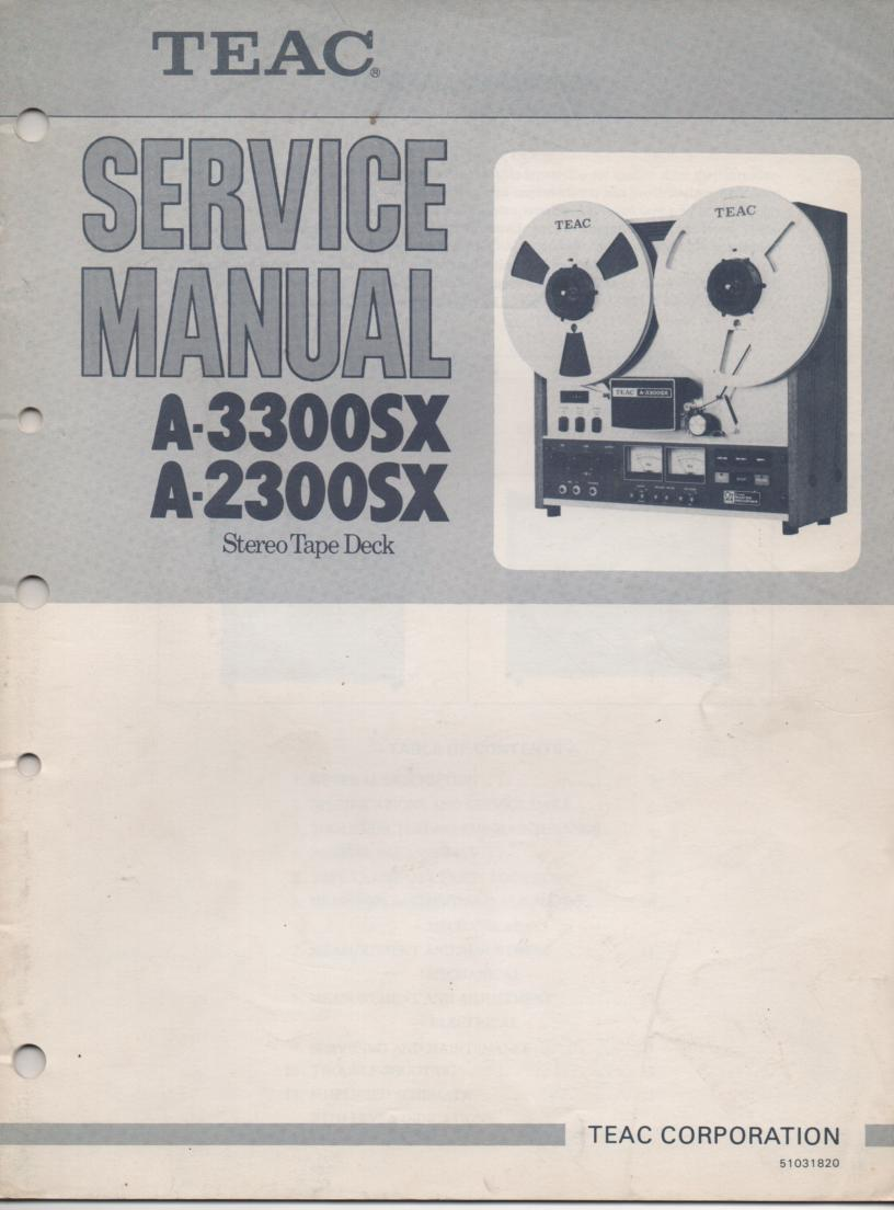 A-2000 A2200SX A-3300SX Reel to Reel Service Manual  TEAC