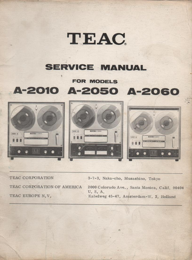 TEAC A-2050 A-2010 Reel to Reel Service Manual
