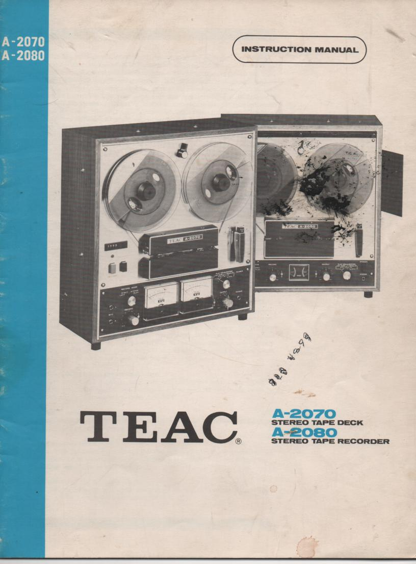A-2070 A-2080 Reel to Reel Operating Instruction Manual  TEAC