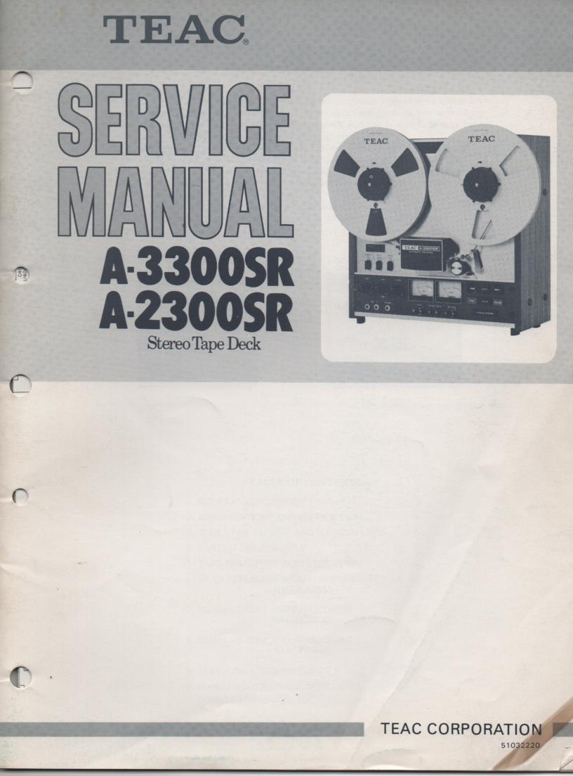 A-2300SR A-3300SR Reel to Reel Service Manual. 2 Manual set with foldup schematics