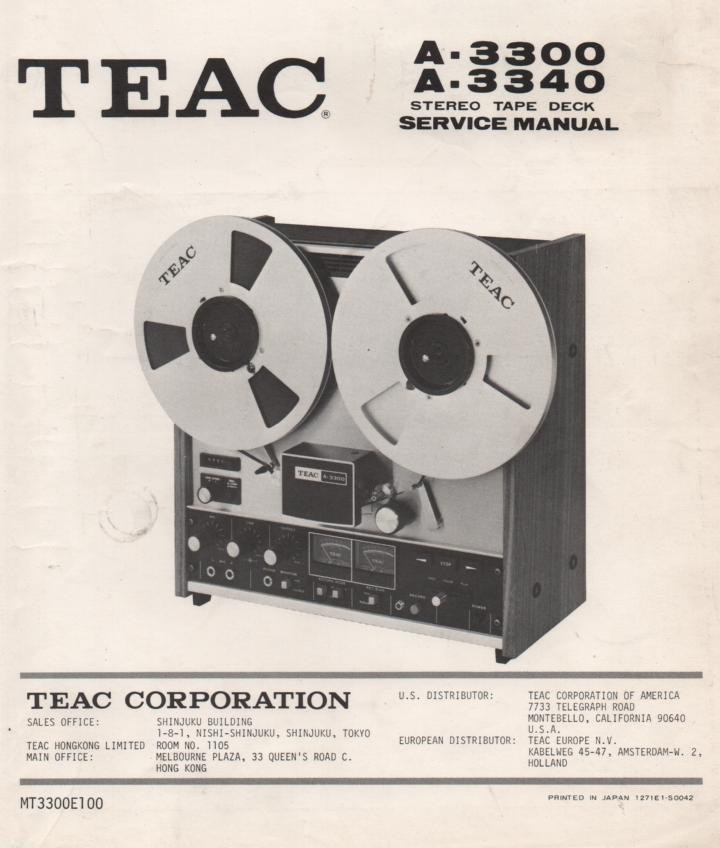 A-3340 A-3300 Reel to Reel Service Manual  TEAC