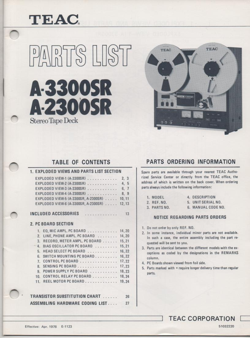 A-3300SR A-2300SR Reel to Reel Parts Manual Only.