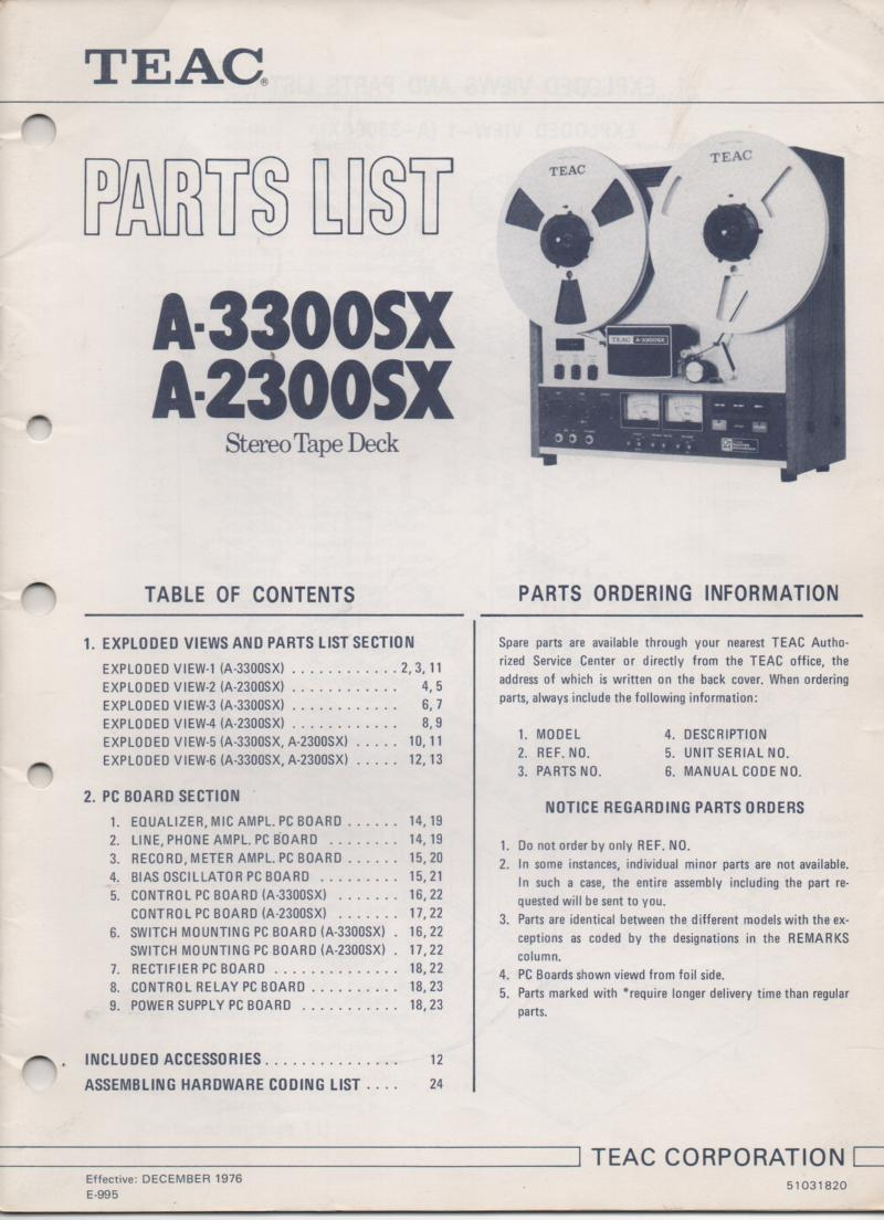 A-2300SX A-3300SX Reel to Reel Service Parts Manual.  TEAC