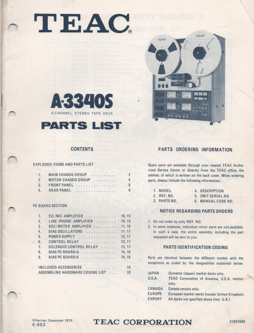 A-3340S 1975 Reel to Reel Parts Manual  TEAC