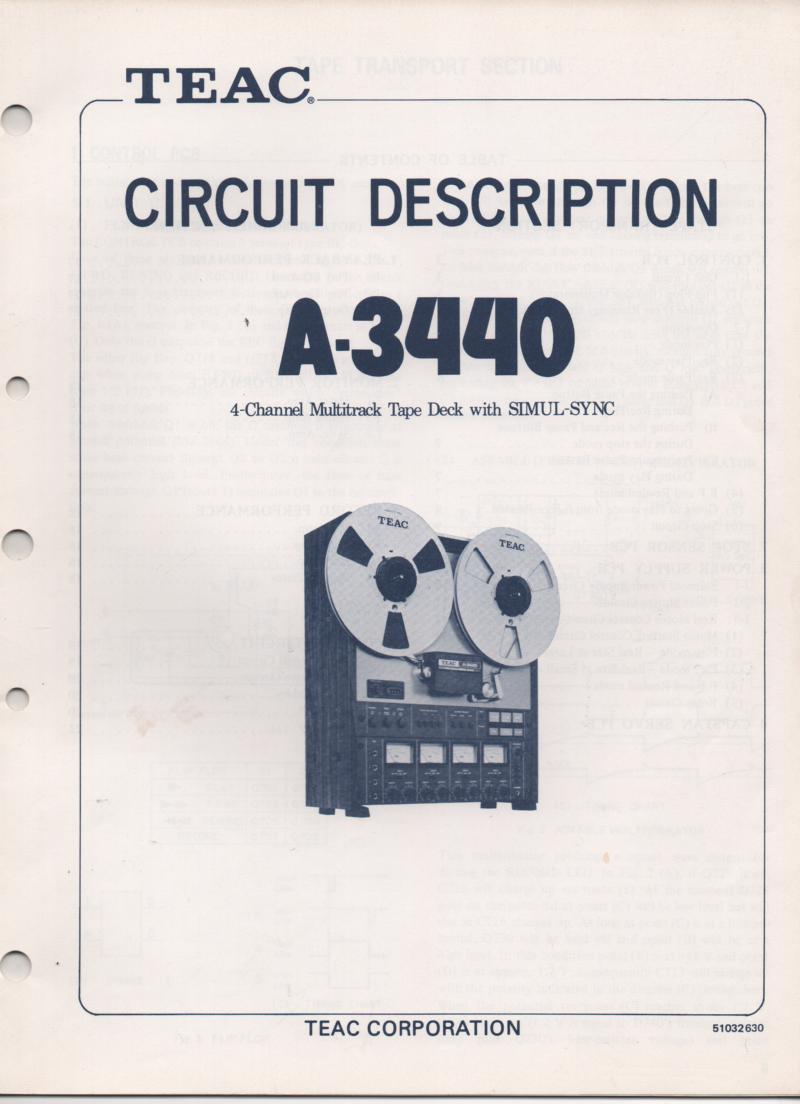A-3440 Reel to Reel Circuit Description Service Manual  TEAC