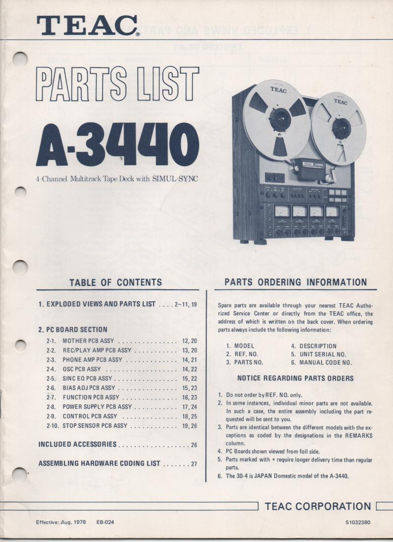 A-3440 Reel to Reel Parts Service Manual  TEAC