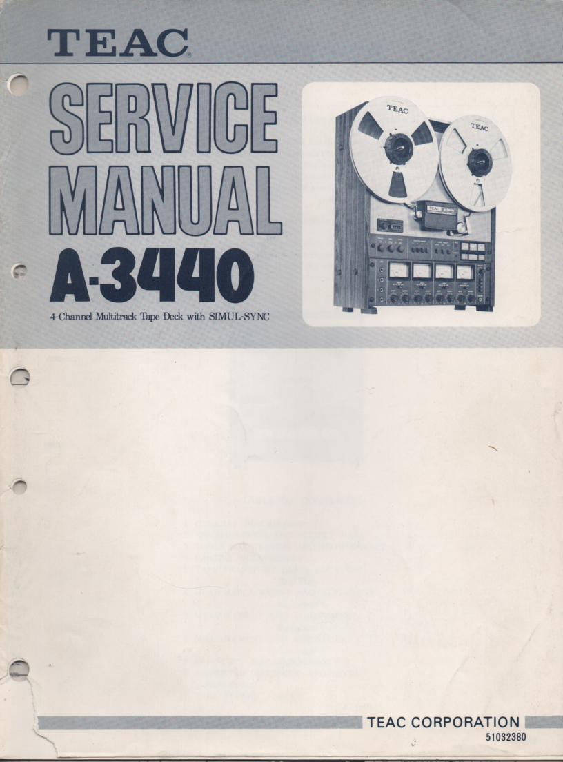 A-3440 Reel to Reel Service Manual Set. 3 Manuals Set.