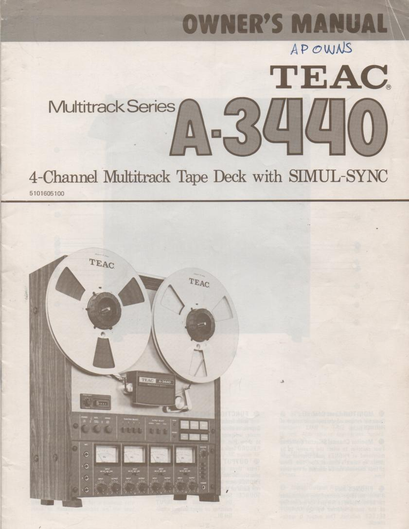 A-3440 Reel to Reel Owners Manual