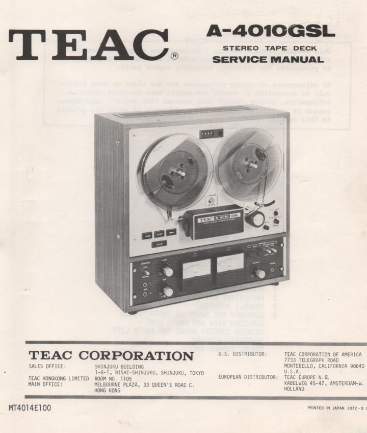 A-4010GSL Reel to Reel Service Manual  TEAC