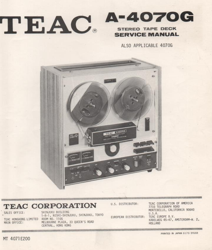 A-4070G Reel to Reel Service Manual  TEAC