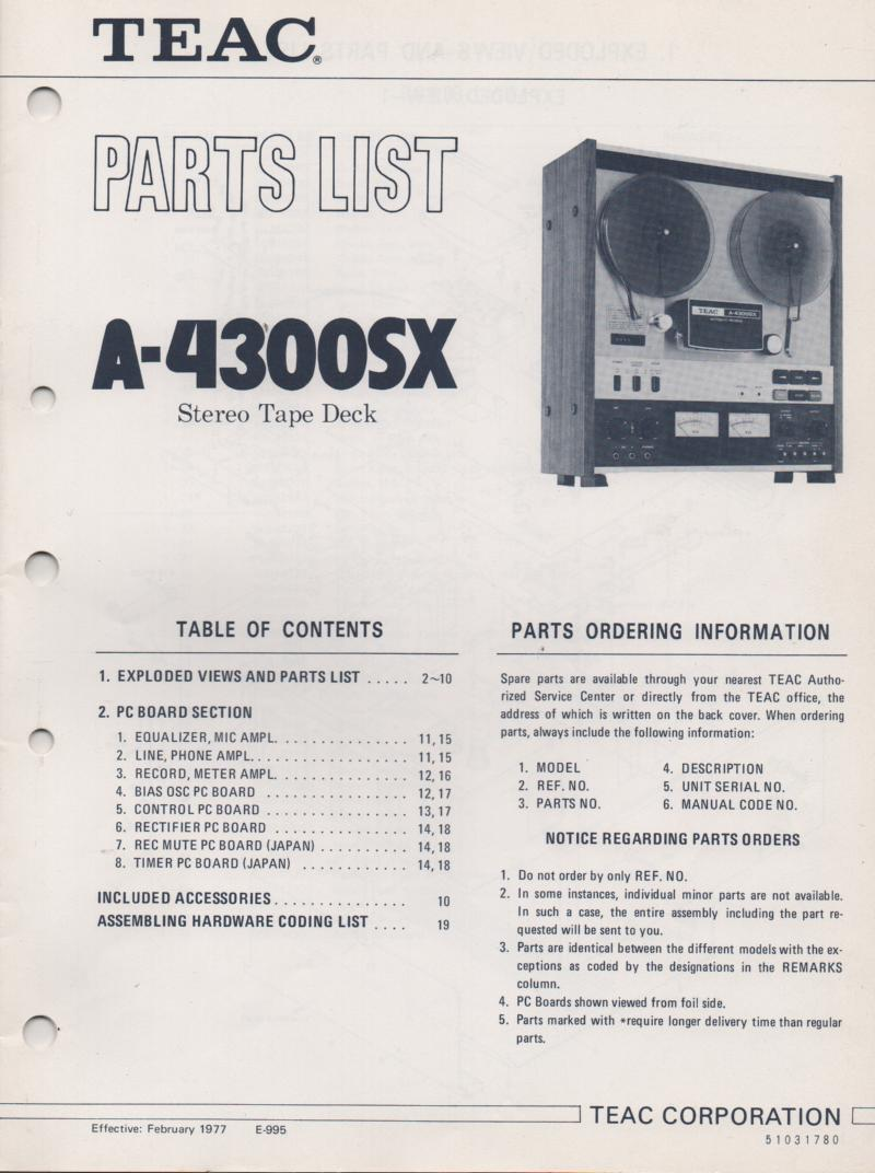 TEAC A-4300SX Reel to Reel Parts Service Manual