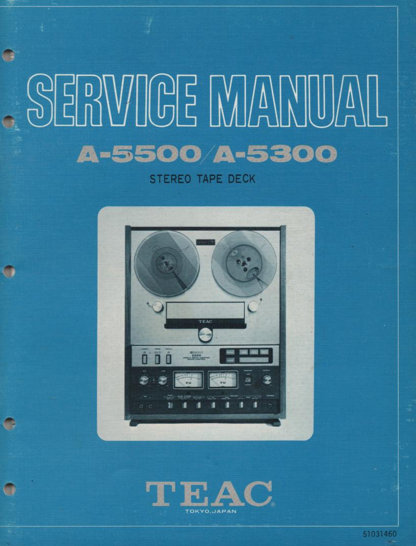 A-5300 A-5500 Reel to Reel Service Manual  TEAC