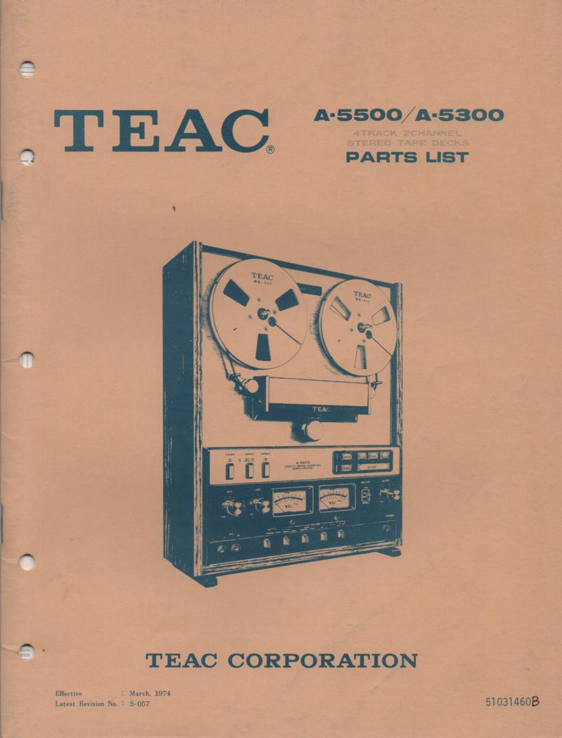 A-5300 A-5500 Reel to Reel Service Parts Manual