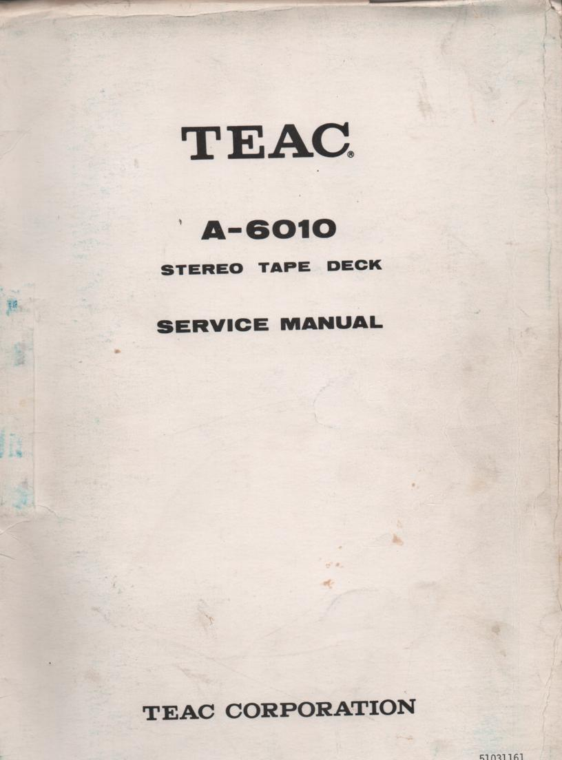 A-6010 Reel to Reel Service Manual  TEAC