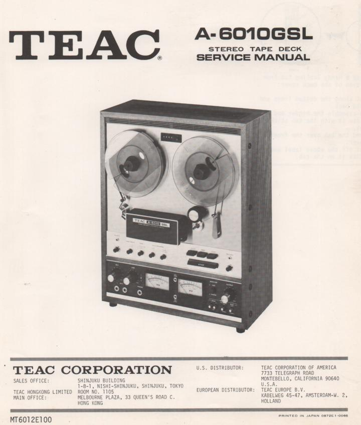 A-6010GSL Reel to Reel Service Manual  TEAC
