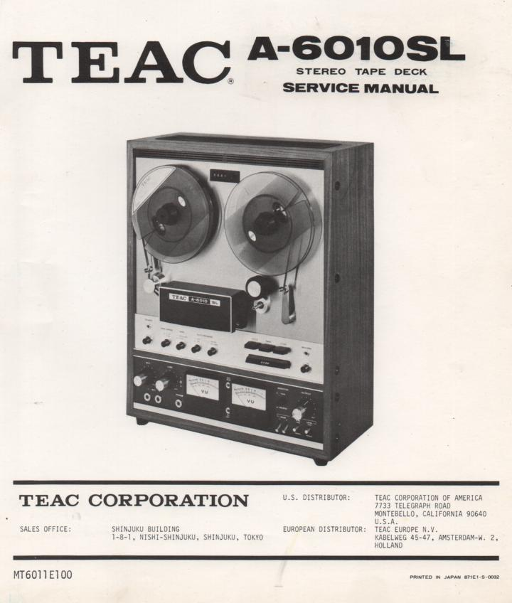 A-6010SL Reel to Reel Service Manual  TEAC