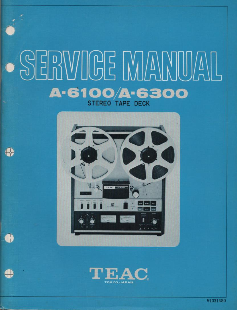 A-6100 A-6300 Reel to Reel Service Manual  TEAC