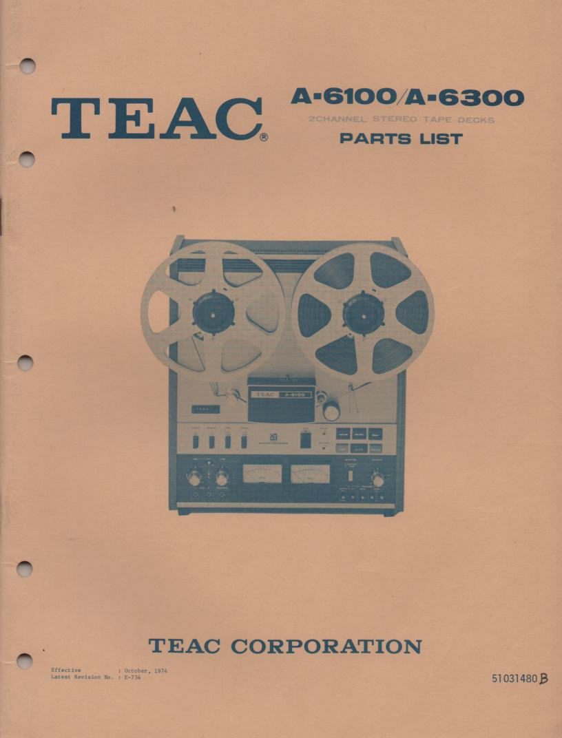 A-6100 A-6300 Reel to Reel Service Parts Manual Only