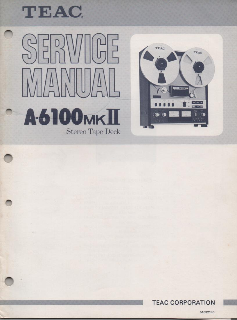 A-6100mk II Reel to Reel Service Manual  TEAC