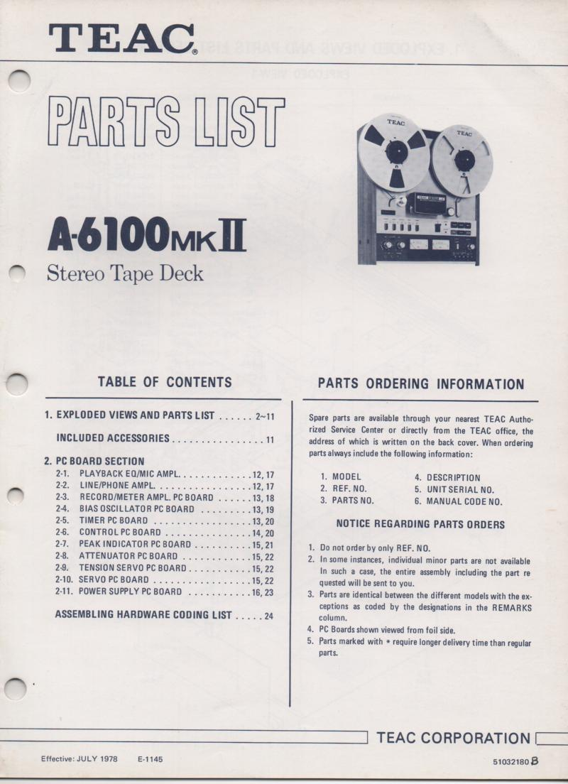 A-6100mk II Reel to Reel Service Parts Manual Only.