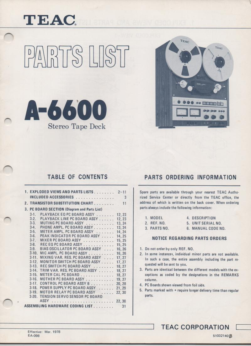 A-6600 Reel to Reel Service Parts Manual  TEAC