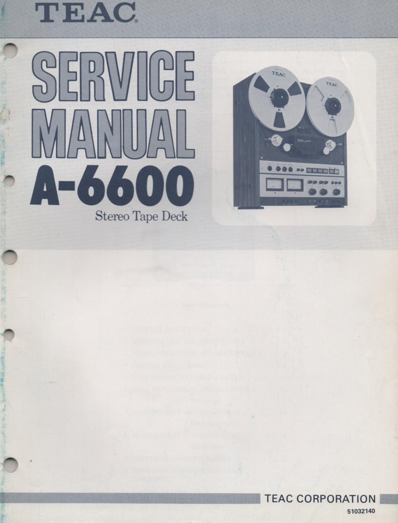 A-6600 Reel to Reel Service Manual  TEAC