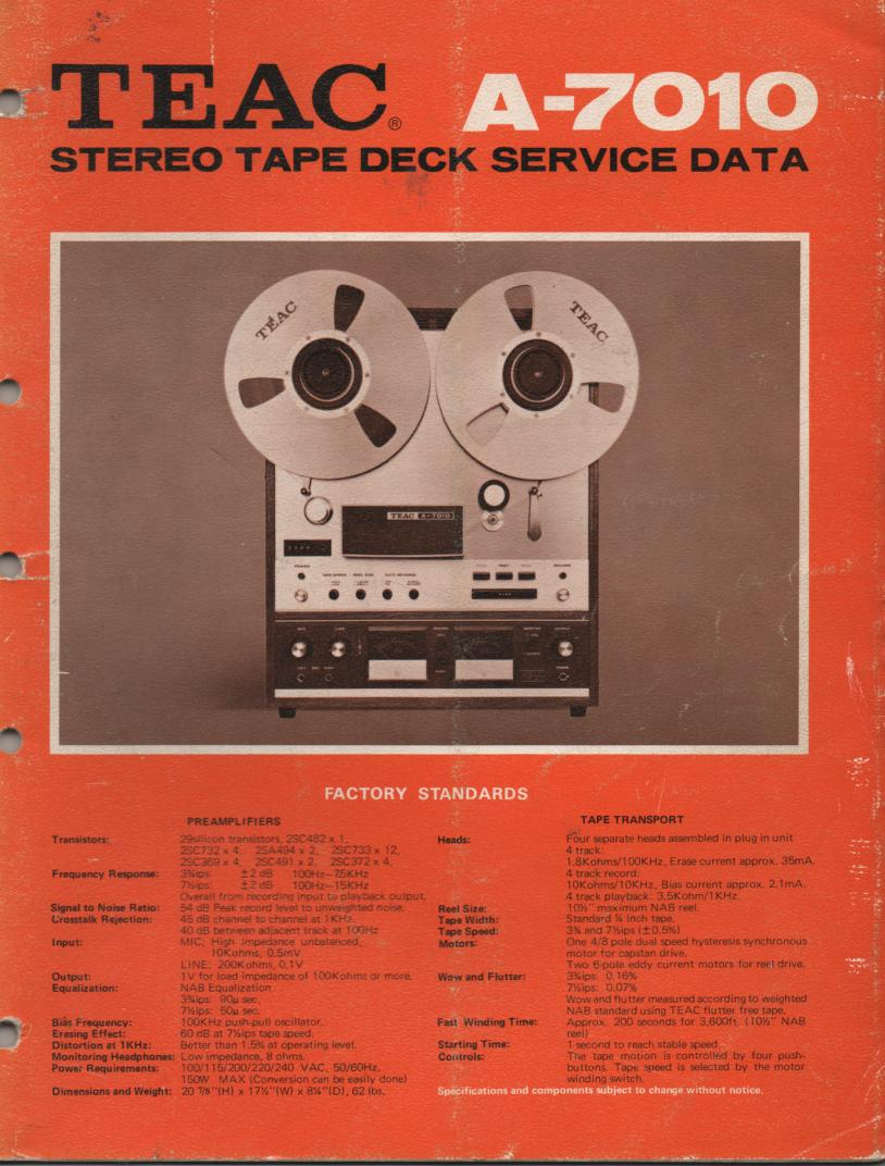 A-7010 Reel to Reel Service Manual