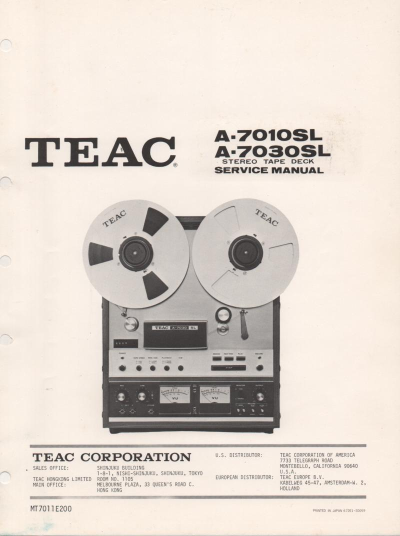 A-7010SL A-7030SL Reel to Reel Service Manual  TEAC